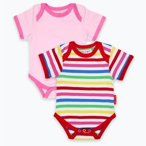 Organic Cotton Pink & Multistripe 2-pack bodysuits